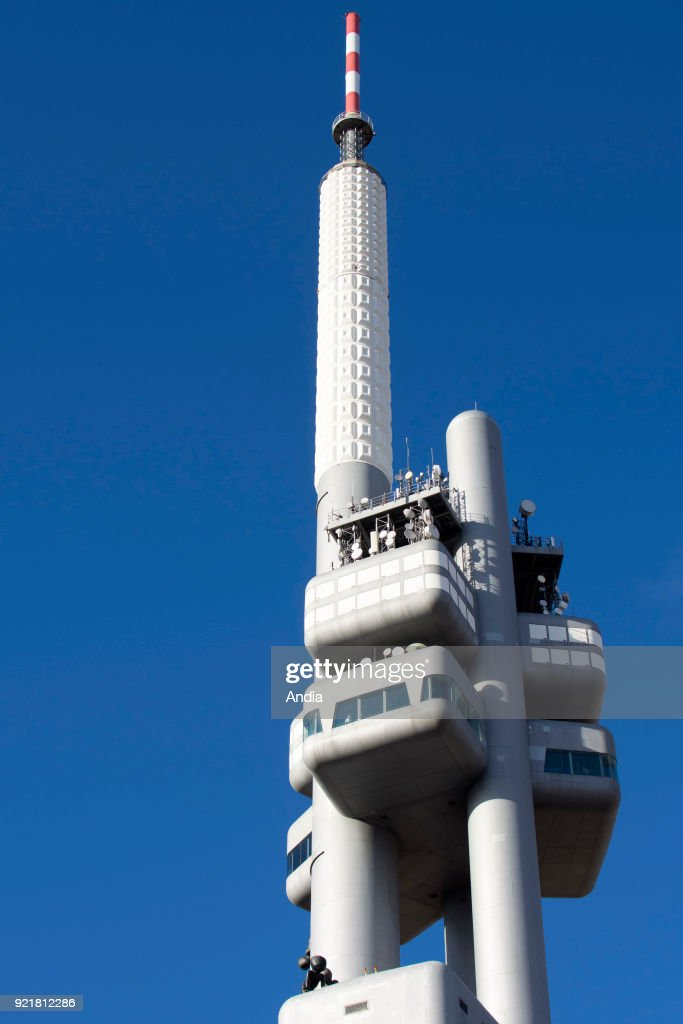 Prague. The Zizkov Television Tower and blue sky in the background.