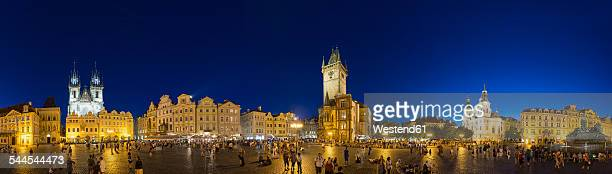 Czech Republic, Prague, tourists on Old Town Square at night