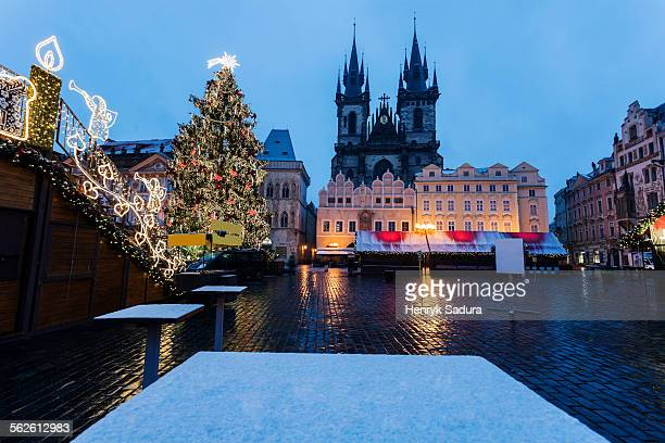 Czech Republic, Prague, Tyn Cathedral seen from square in winter