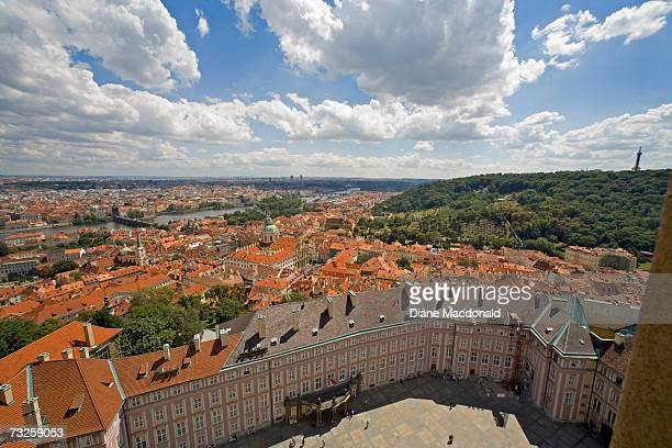 Czech Republic, Prague, view from Bell Tower of St Vitus Cathedral at Prague Castle