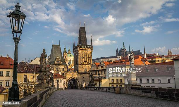 Czech Republic, Prague, View of Mala Strana bridge tower and Prague Castle from Charles Bridge