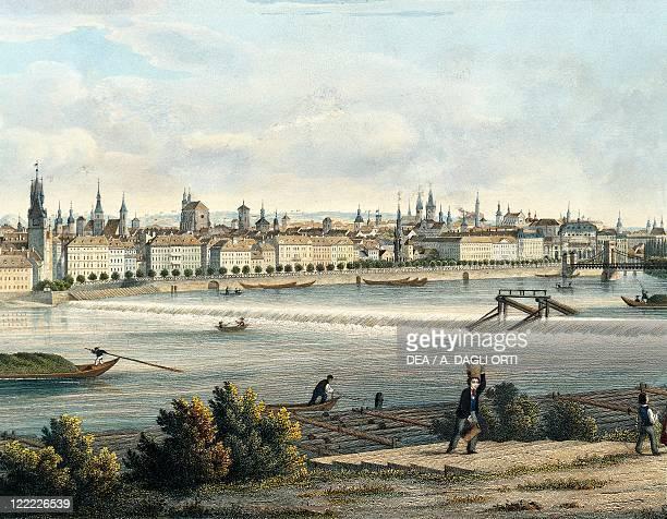 Czech Republic Prague View of the Vltava River engraving by Vincent Morstadt detail