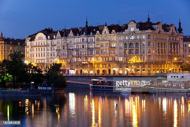 Czech Republic Prague with Vltava River at night