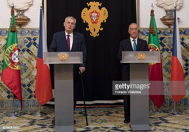 Czech Republic President Milos Zeman and Portuguese President Marcelo Rebelo de Sousa during their press conference at the end of their meeting at...