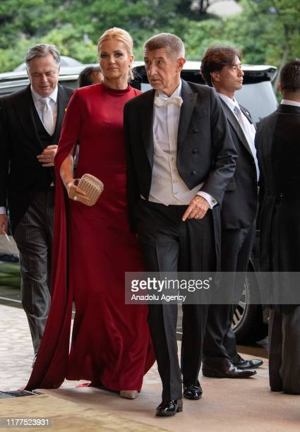 Czech Republic Prime Minister Andrej Babis and his wife Monika Babisova arrive to attend the Enthronement Ceremony Of Emperor Naruhito of Japan at...