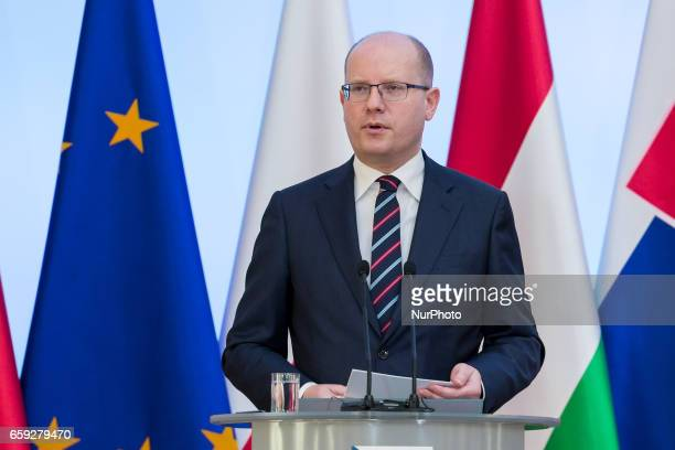 Czech Republic Prime Minister Bohuslav Sobotka during the Visegrad Group meeting in Warsaw Poland on 28 March 2017
