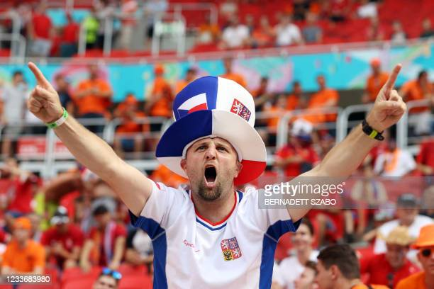 Czech Republic supporter cheers for his team before the UEFA EURO 2020 round of 16 football match between the Netherlands and the Czech Republic at...