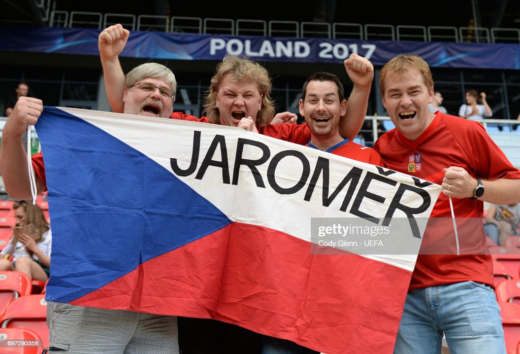 Czech Republic supporters ahead of their UEFA European Under-21 Championship match against Germany on June 18, 2017 in Tychy, Poland.