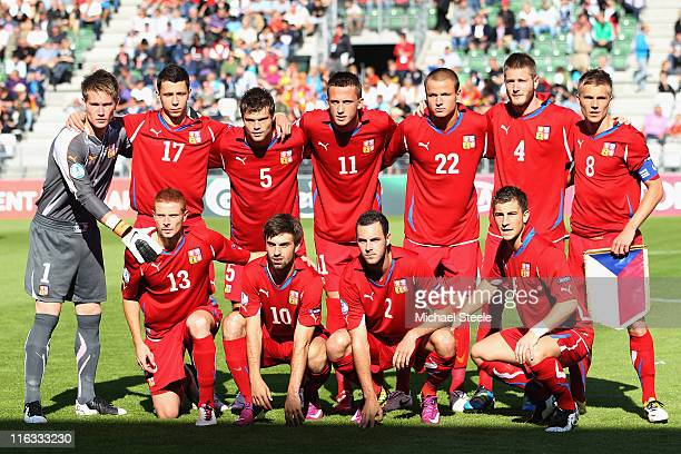 Czech Republic team group during the UEFA European Under21 Championship Group B match between Czech Republic and Spain at the Viborg Stadium on June...