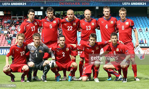 Czech Republic team line up during the UEFA European U21 Championship third place playoff match between Czech Republic and Belarus at the Aalborg...