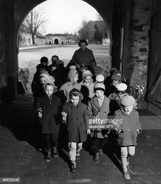 Czech Republic Terezin former concentration camp children visiting the memorial place 1958