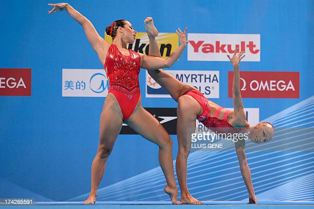 Czech Republic's Alzbeta Dufkova and Sona Bernardova compete in the duet free preliminary round during the synchronised swimming competition in the...