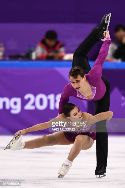 Czech Republic's Anna Duskova and Czech Republic's Martin Bidar compete in the pair skating short program of the figure skating event during the...