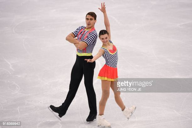 Czech Republic's Anna Duskova and Czech Republic's Martin Bidar compete in the pair skating free skating of the figure skating event during the...