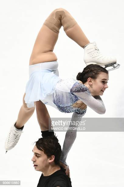 Czech Republic's Anna Duskova and Martin Bidar perform during the Pairs Free Skate program at the Milano World League Figure Skating Championship...
