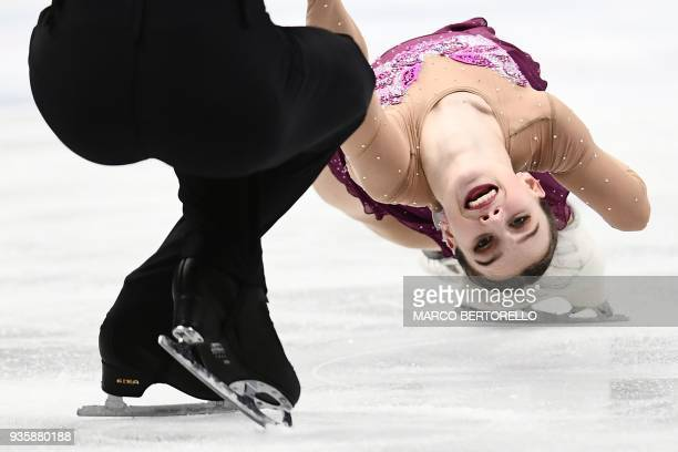 Czech Republic's Anna Duskova and Martin Bidar perform on March 21 2018 in Milan during the Pairs figure skating short program at the Milano World...