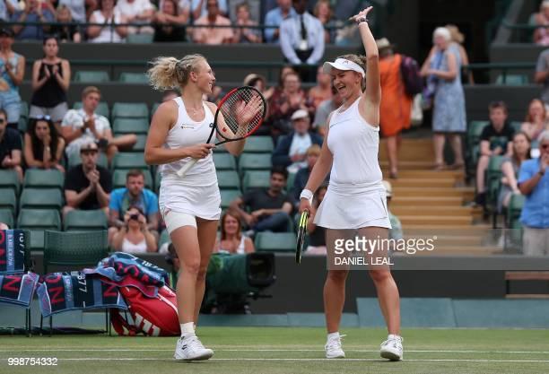 Czech Republic's Barbora Krejcikova and Czech Republic's Katerina Siniakova react after winning against Nicole Melichar of the USA and Czech...