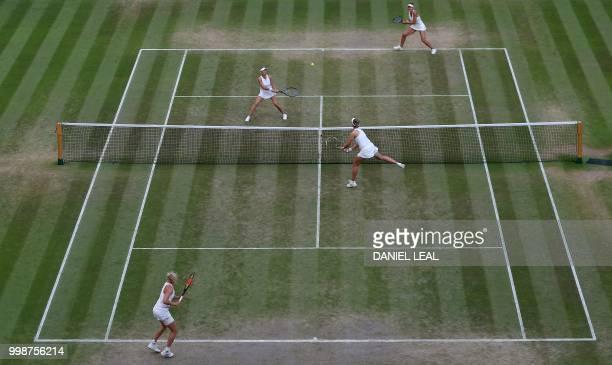 Czech Republic's Barbora Krejcikova and Czech Republic's Katerina Siniakova return against Nicole Melichar of the USA and Czech Republic's Kveta...