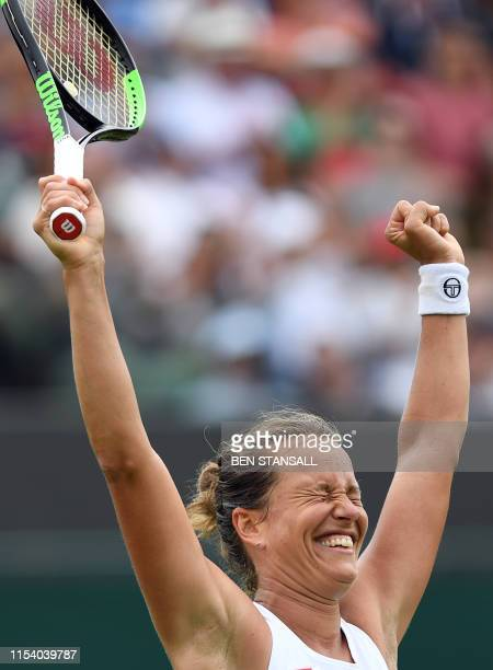 Czech Republic's Barbora Strycova celebrates after beating Netherlands' Kiki Bertens during their women's singles third round match on the sixth day...