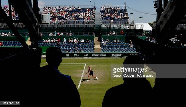 Czech Republic's Barbora Strycova in action during her quarter final against Ukraine's Lesia Tsurenko during day five of the Nature Valley Classic at...