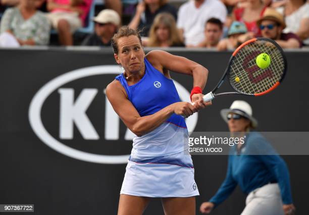 Czech Republic's Barbora Strycova plays a backhand return to Bernarda Pera of the US during their women's singles third round match on day six of the...