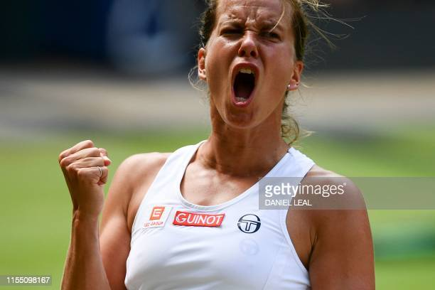 Czech Republic's Barbora Strycova reacts after winning a point against US player Serena Williams during their women's singles semi-final match on day...