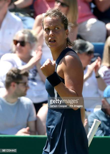 Czech Republic's Barbora Strycova reacts during her quarter final against Ukraine's Lesia Tsurenko during day five of the Nature Valley Classic at...