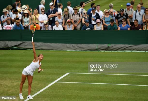Czech Republic's Barbora Strycova serves against Ukraine's Lesia Tsurenko during their women's singles second round match on the fourth day of the...