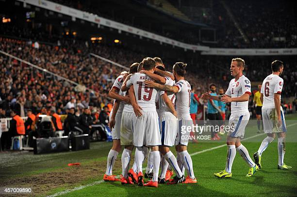 Czech Republic's Borek Dockal celebrate with his teammates after scoring a goal during the UEFA Euro 2016 Group A qualifying football match Turkey vs...