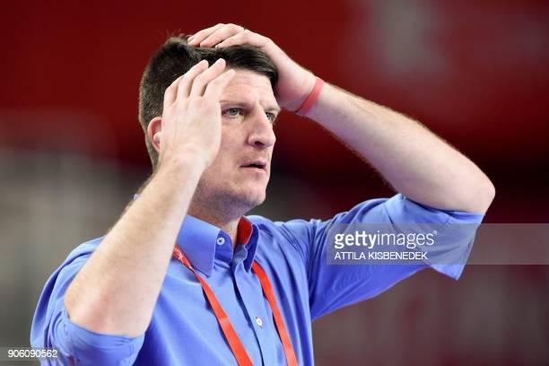 Czech Republic's coach Daniel Kubes reacts during the group D match of the Men's 2018 EHF European Handball Championships between Czech Republic and...