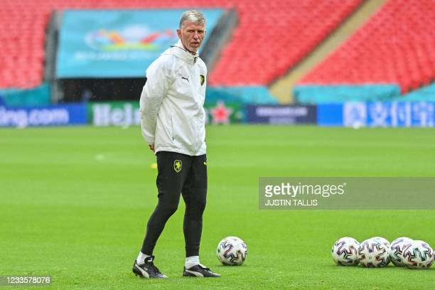 Czech Republic's coach Jaroslav Silhavy oversees their MD-1 training session at Wembley Stadium in London on June 21 the eve of their UEFA EURO 2020...