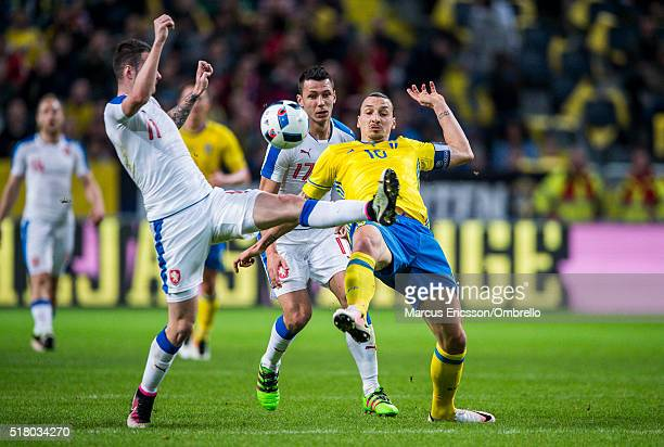 Czech Republics Daniel Pudel and Marek Suchý against Swedens Zlatan Ibrahimovic during the international friendly between Sweden and Czech Republic...