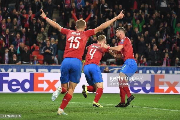 Czech Republic's defender Jakub Brabec celebrates scoring with his teammates during the UEFA Euro 2020 qualifier Group A football match Czech...