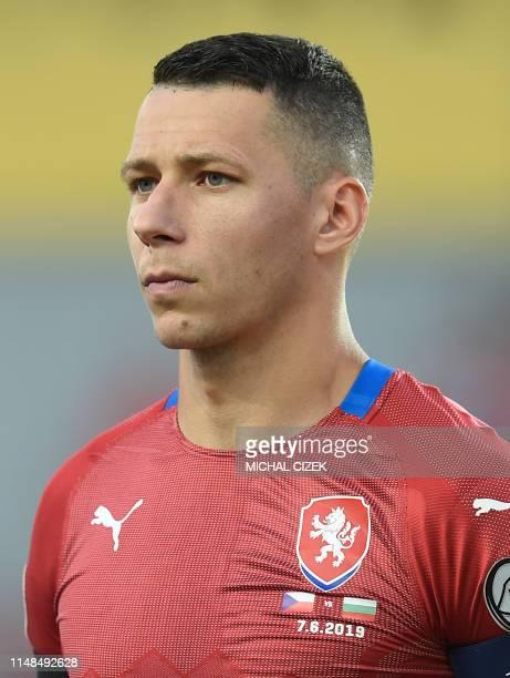 Czech Republic's defender Marek Suchy listens to the national anthems ahead the UEFA Euro 2020 qualifier Group A football match Czech Republic...