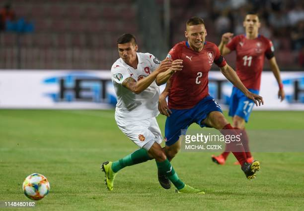 Czech Republic's defender Pavel Kaderabek and Bulgaria's forward Kiril Despodov vie during the UEFA Euro 2020 qualifier Group A football match Czech...