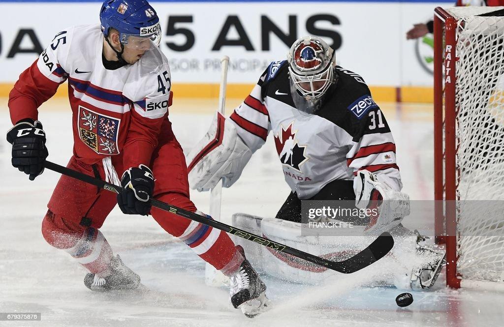 Czech Republic's defender Radim Simek (L) challenges Canada's goalkeeper Calvi Pickard during the IIHF Men's World Championship group B ice hockey match between the Czech Republic and Canada in Paris on May 5, 2017. /
