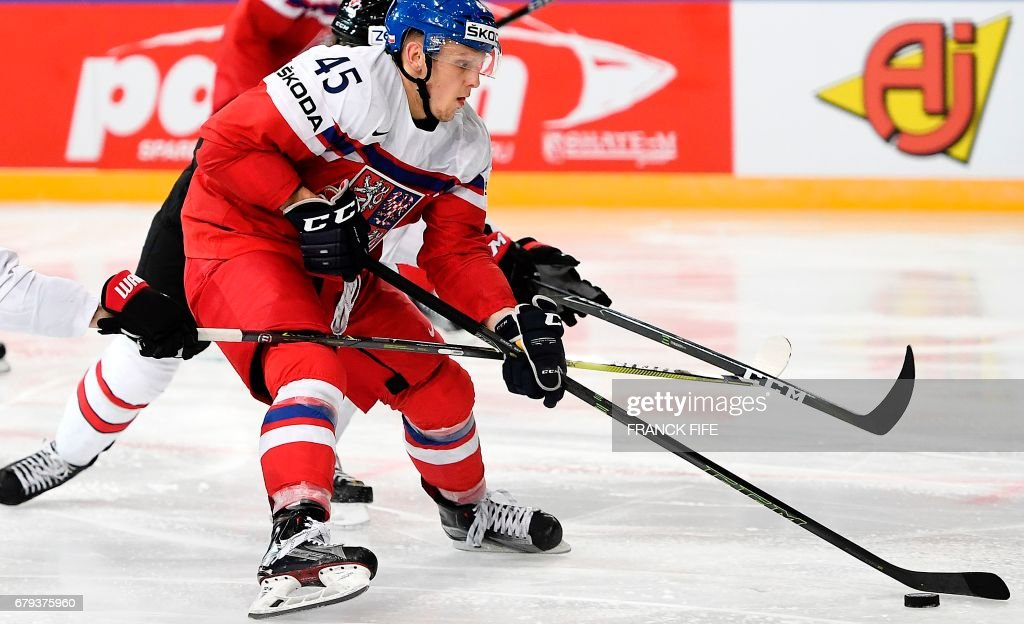 Czech Republic's defender Radim Simek (L) controls the puck during the IIHF Men's World Championship group B ice hockey match between the Czech Republic and Canada in Paris on May 5, 2017. /