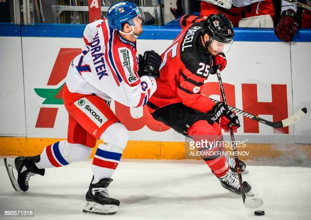 Czech Republic's defender Tomas Kundratek vies for the puck with Canada's forward Teddy Purcell during the Channel One Cup of the Euro Hockey Tour...