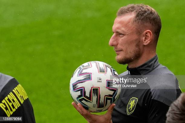 Czech Republic's defender Vladimir Coufal and his teammates take part in their MD-1 training session at Wembley Stadium in London on June 21 the eve...