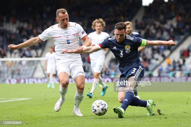 Czech Republic's defender Vladimir Coufal fights for the ball with Scotland's defender Andrew Robertson during the UEFA EURO 2020 Group D football...