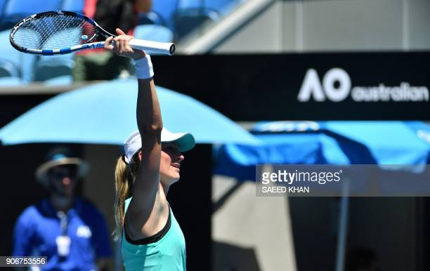 Czech Republic's Denisa Allertova celebrates beating Poland's Magda Linette in their women's singles third round match on day five of the Australian...