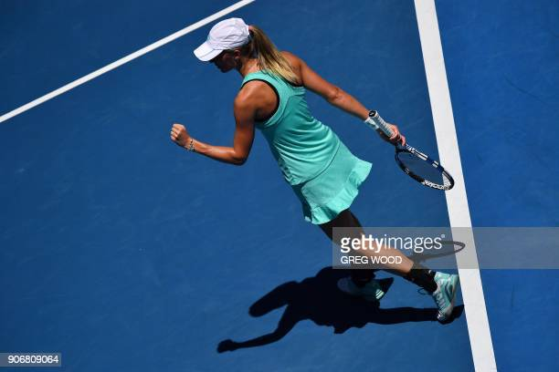 Czech Republic's Denisa Allertova reacts during their women's singles third round match against Poland's Magda Linette on day five of the Australian...