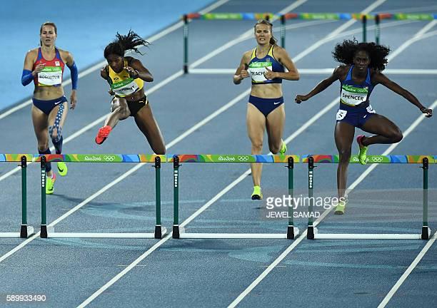 Czech Republic's Denisa Rosolova Jamaica's Leah Nugent Ukraine's Viktoriya Tkachuk and USA's Ashley Spencer compete in the Women's 400m Round 1...