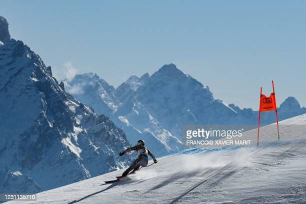 Czech Republic's Ester Ledecka competes during the Women's Downhill on February 13, 2021 during the FIS Alpine World Ski Championships in Cortina...