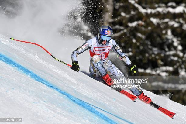 Czech Republic's Ester Ledecka competes during the Women's Super G event at the FIS Alpine Ski World Cup in Crans-Montana, Switzerland, on January...