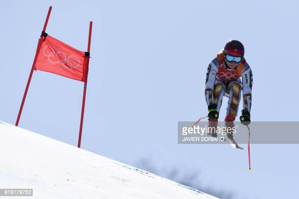 Czech Republic's Ester Ledecka competes in the Women's Super-G at the Jeongseon Alpine Center during the Pyeongchang 2018 Winter Olympic Games in...