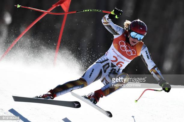 TOPSHOT Czech Republic's Ester Ledecka competes in the Women's SuperG at the Jeongseon Alpine Center during the Pyeongchang 2018 Winter Olympic Games...
