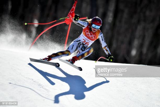 Czech Republic's Ester Ledecka competes in the Women's SuperG at the Jeongseon Alpine Center during the Pyeongchang 2018 Winter Olympic Games in...