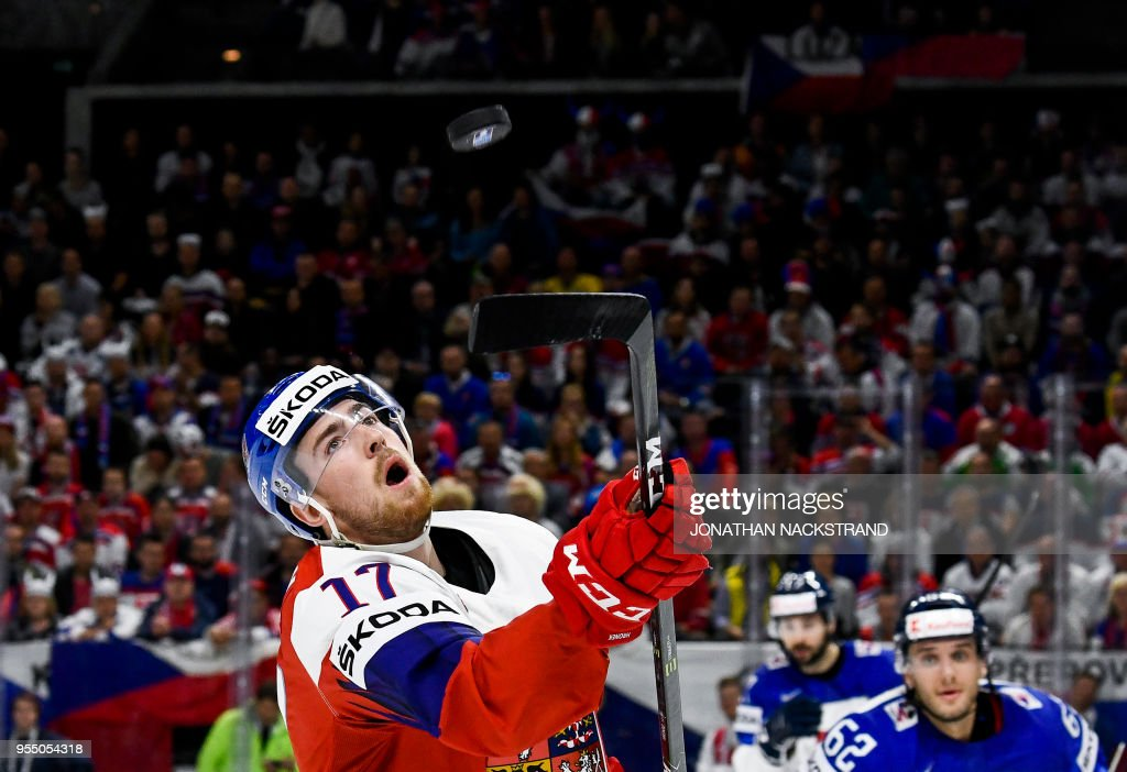 Czech Republic's Filip Hronek eyes the puck during the group A match Czech Republic vs Slovakia of the 2018 IIHF Ice Hockey World Championship at the Royal Arena in Copenhagen, Denmark, on May 5, 2018.