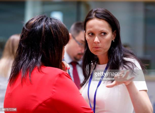 BRUSSELS BELGIUM JULY 13 Czech Republic's Finance Minister Alena Schillerova is talking with the Czech deputy Finance Minister Lenka Dupakova during...